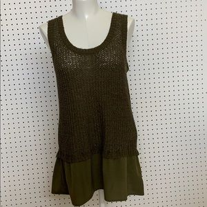 Olive green knit sleeveless long top